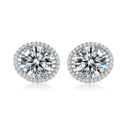 MASOP Round Cut Big 10mm Stud Earrings Silver Tone Clear Cubic Zirconia (Large Rhinestone Earrings)