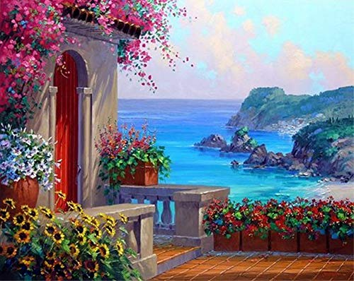 ABEUTY DIY Paint by Numbers for Adults Beginner - Mediterranean Garden Seaside 16x20 inches Number Painting Anti Stress Toys