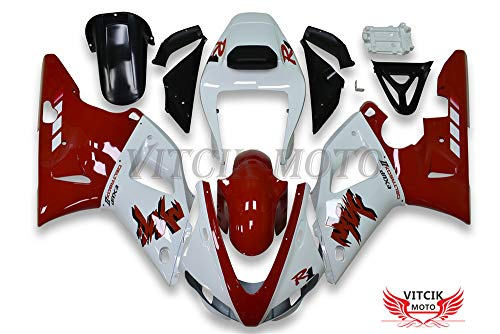 (VITCIK (Fairing Kits Fit for Yamaha YZF-1000 R1 1998 1999 YZF 1000 R1 98 99 Plastic ABS Injection Mold Complete Motorcycle Body Aftermarket Bodywork Frame (Red & White))