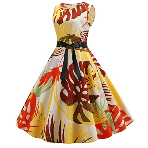 Women Puffy Swing Tank Dress - Ladies Fashion Floral Print Boat Neck Sleeveless Tie Knot Front Flare Dresses - Elegant Dress for Prom Wedding Pageant Party (S, Yellow)