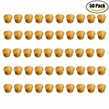 Aimyoo 50pcs Round Mushroom Wood Coated with Varnish Unfinished Furniture Hardware Cabinet Closet Drawer Knobs Pulls Handles with Steel Screws