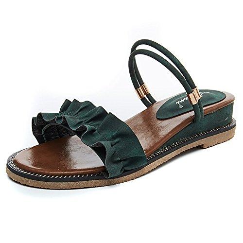 alla Verde Roman con Scarpe caviglia sandali Sandali con Sandali dimensioni Gorgeous Colore casual Women cinturino ZJM estivi 39 Flat Nero 5FHwq07v5