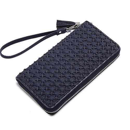 Women wristlet wallets phone card cash holder tassel designer woven ladies clutch long purses with wrist strap zipper around large (blue) (Coin Purse Woven Bag Zipper)