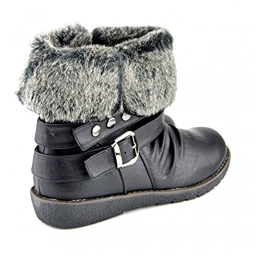 Kick Footwear Ladies Snow Flat Fur Lined Ankle Winter Boots Black