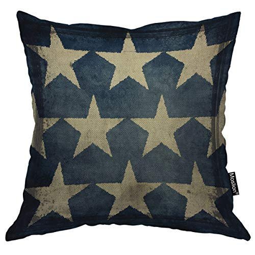 Moslion Star Pillows Antique American Flag Stars Patriotic Memorial Day Fourth of July Blue Beige Throw Pillow Cover Decorative Square Accent Cotton Linen Home Pillow Case 18X18 - Star Patriotic Flag
