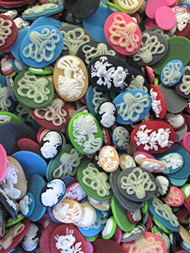 DESTASH Sale Spooky Halloween Goth Cameo Cabochon Grab Bag, Assorted Sizes and Colors, Pick Your Amount(10 Pieces),- Limits