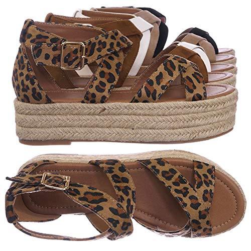 Bonnibel Wrapped Espadrille Jute Flatform Sandal - Summer Open Toe Braided Shoe Leopard Brown