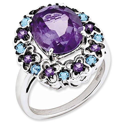 Rhodolite Amethyst Bracelet (Jewelry Adviser Swiss Rings Sterling Silver Amethyst, Rhodolite Garnet & Swiss Blue Topaz Ring Size 7)