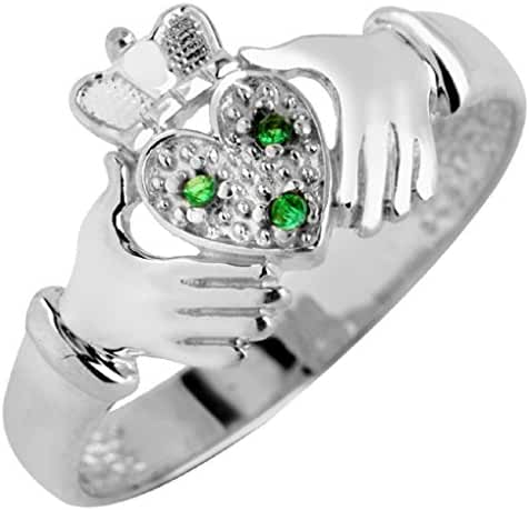 925 Sterling Silver Irish Heart Claddagh Ring with Green CZ Stones