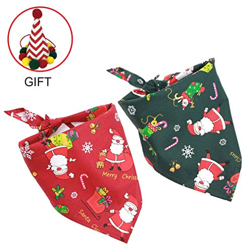 Trasen Pet Dog Chirstmas Bandana Scarfs with Cute Doggie Chirstmas Party Hat Pet Costume Decoration 3-Piece