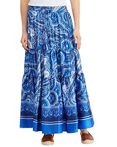 (LAUREN RALPH LAUREN Womens Oretha Paisley Tiered Peasant, Boho Skirt Blue M)