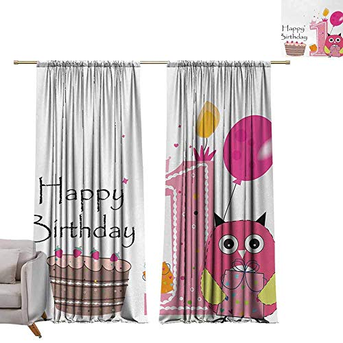 DuckBaby Extra Wide Curtains 1st Birthday First Birthday Surprise Cake Candle Sketchy Cartoon Owl Image Privacy Protection W84 xL72 Brown Hot Pink and Pink