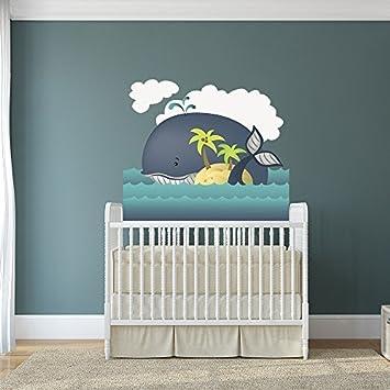 Anol Kinderzimmer Wand Kinder Aufkleberblau Cartoon Wal Kunst Heim