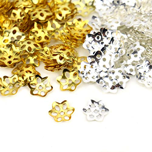 JETEHO 200 Pcs Gold Silver 10 mm Iron Filigree Flower Bead Caps for Jewelry Making ()