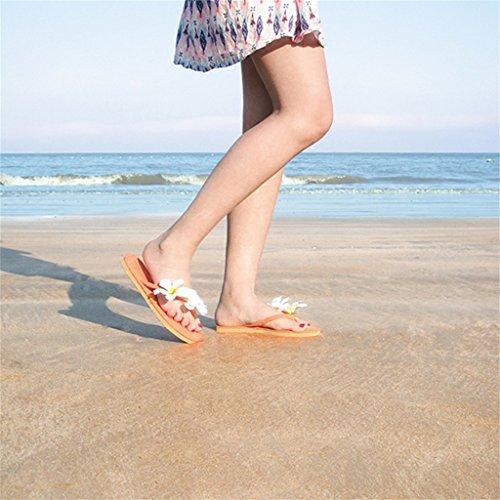 Tangas EU Beach 36 Punta Zapatos De Naranja Mujer Tacón 6 Flores Leisure para con Holiday Chancletas Zapatillas para Blancas De Chicas Plana On Brillante Slip En con Gamuza Sandalias Verano US wWqfTYp