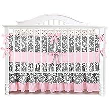 7 Pieces Set Ruffle Grey Pink Floral Baby Crib Nursery Bedding Set Ruffle Sheet