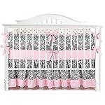 7-Pieces-Set-Ruffle-Grey-Pink-Floral-Baby-Crib-Nursery-Bedding-Set-Ruffle-Sheet