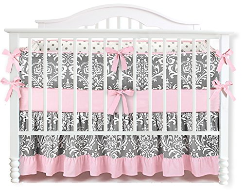 7 Pieces Set Ruffle Grey Pink Floral Baby Crib Nursery Bedding Set Ruffle Sheet from Sahaler