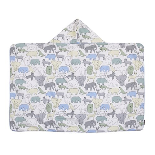 (Dwell Studio Caravan Printed Percale/Solid Woven Terry Hooded Bath Towel, Blue)