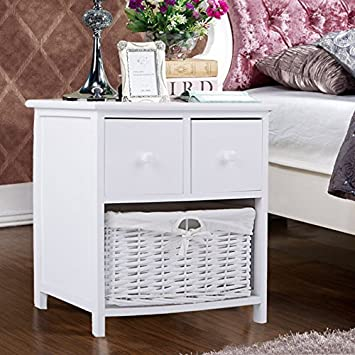 Panana 1pc White Wooden Shabby Chic Storage Bedside Units With Wicker  Basket Cabinet (40*
