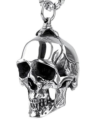 PAURO Men's Stainless Steel Gothic Biker Skull Pendant Necklace Punk Rock Silver Black Vintage Medium ()