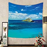 Gzhihine Custom tapestry Hawaiian Decor Tapestry Manana Island Hawaii Cloudy Summer Sky Tropical Climate Beach Theme Picture for Bedroom Living Room Dorm 60 W X 40 L Blue and Turquoise