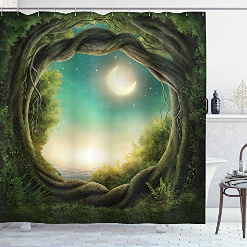 Ambesonne Trees Shower Curtain, Trees in Enchanted Forest Full Moon Artwork Girls Boys and Family, Cloth Fabric Bathroom Decor Set with Hooks, 70
