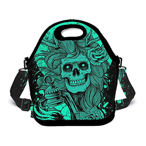 - Eco-Friendly Neoprene Lunch Bag - Cool Girl Skull - Large Insulated Lunch Sack, Soft Cooler/Hot Bag for School/Beach/Picnic/Camping/BBQ