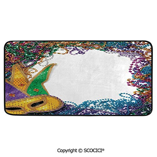 Rectangular Area Rug Super Soft Living Room Bedroom Carpet Rectangle Mat, Black Edging, Washable,Mardi Gras,Colorful Framework Design with Beads and Mask Fat Tuesday,39
