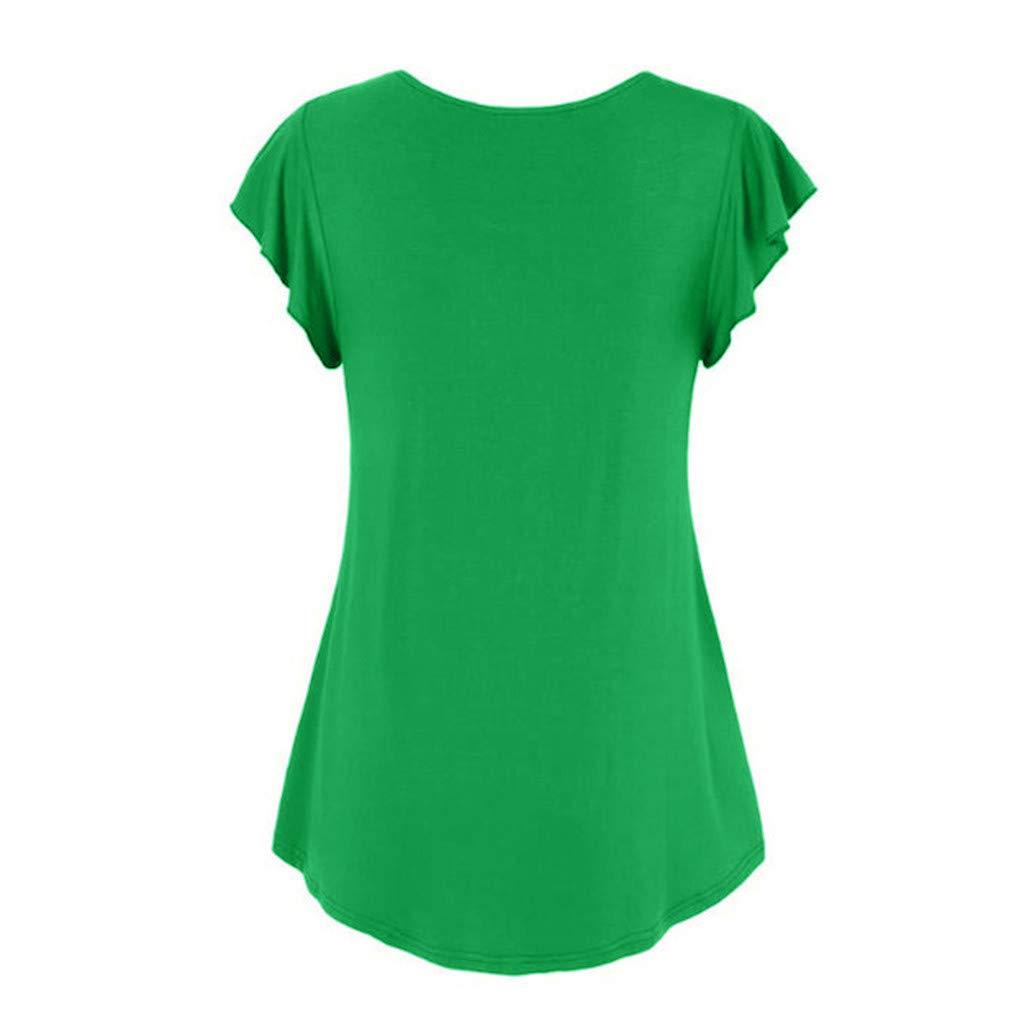 Zackate Women's Casual Solid Color V-Neck Short Sleeve Shirt Cotton Swing Tunic Hem Tank Tops Blouse T-Shirts Green by Zackate_Women Sweatshirts (Image #3)
