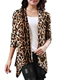 Allegra K Women Leopard Pattern Front Opening Long Sleeve Autumn Coat,Beige,Coffee, Size 14(US Large)