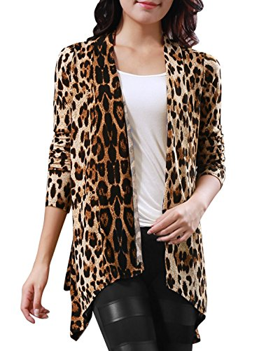 Allegra K Women Leopard Long Sleeve Open Front Boyfriend Cardigan Beige,Coffee M (US (Cheetah Print Cardigan)