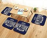 UHOO2018 Chair Cushions College New York Typography t Shirt Graphics Vectors Non Slip Comfortable W25.5 x L25.5/4PCS Set