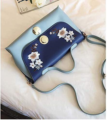 シンプルなバッグ女性の新しいハンドバッグ大きな袋ヨーロッパやアメリカの刺繍のヒットカラーカジュアルなワンショルダーメッセンジャーバッグ大容量の女性のバッグトレンディな人格かわいいです (Color : Blue)
