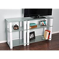 RTA Home and Office TVM-0025W Extra Tall Glass and Aluminum LCD and Plasma TV Stand for a 55 TV