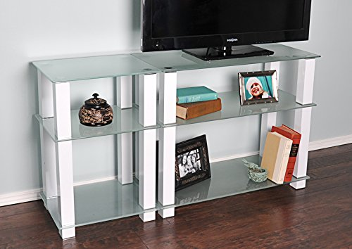 RTA Home and Office TVM-0025W Extra Tall Glass and Aluminum LCD and Plasma TV Stand for a 55