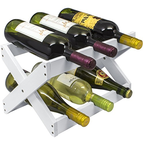 - Sorbus Bamboo Foldable Countertop Wine Rack 6-bottles (White)