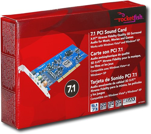 Rocketfish RF-71SDCD - Sound card - 24-bit - 96 kHz - 7.1 - PCI by Rocketfish