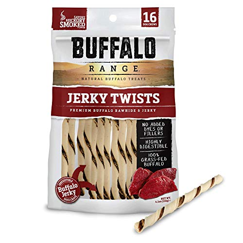 Buffalo Range Rawhide Dog Treats | Healthy, Grass-Fed Buffalo Jerky Raw Hide Chews | Hickory Smoked Flavor | Jerky Twist, 16 Count ()
