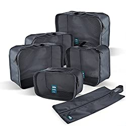 6 Set Travel Packing Cubes,compression Luggage Organizer By Flynova - Durable 5 Cubes & 1 Shoe Bag