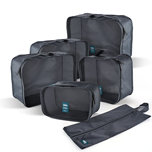 Travel Packing Storage Cubes (6-Piece Set) by FLYNOVA | Portable Luggage Accessories | Stackable Organizers and Space Savers | Clothes, Toiletries, Toys | Incl. Shoe Bag (Lead Ashes)
