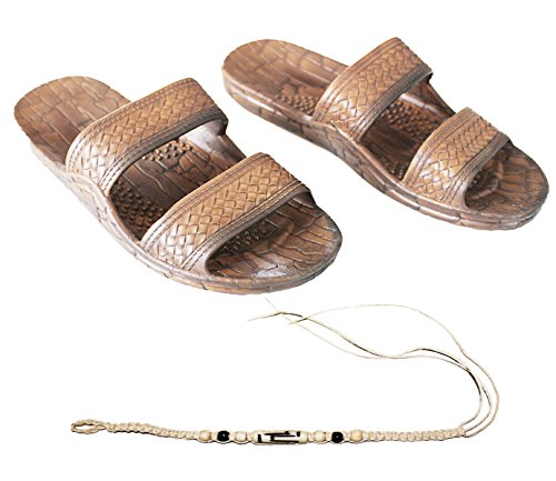 Rubber Double Strap Jesus Style Sandals Imperial Brand - with 1 Braided Natural Hemp Anklet Bracelet Bundle - 2 Items Brown