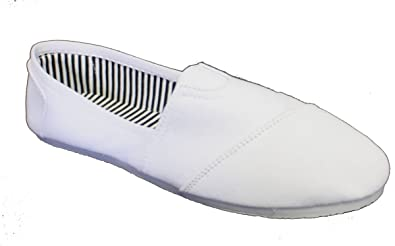 35eac509ece4c Women Canvas Slip-on Flats White with White Sole