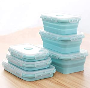 Set of 3 Collapsible Silicone Food Storage Container, Leftover Meal box For Kitchen, Bento Lunch Boxes, BPA Free, Microwave, Dishwasher and Freezer Safe, Foldable Thin box Design (Blue)