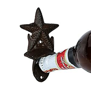 MassMall Antique Rustic Cast Iron Bottle Opener Beer Opener Vintage Style Wall Mount Bottle Opener Starfish