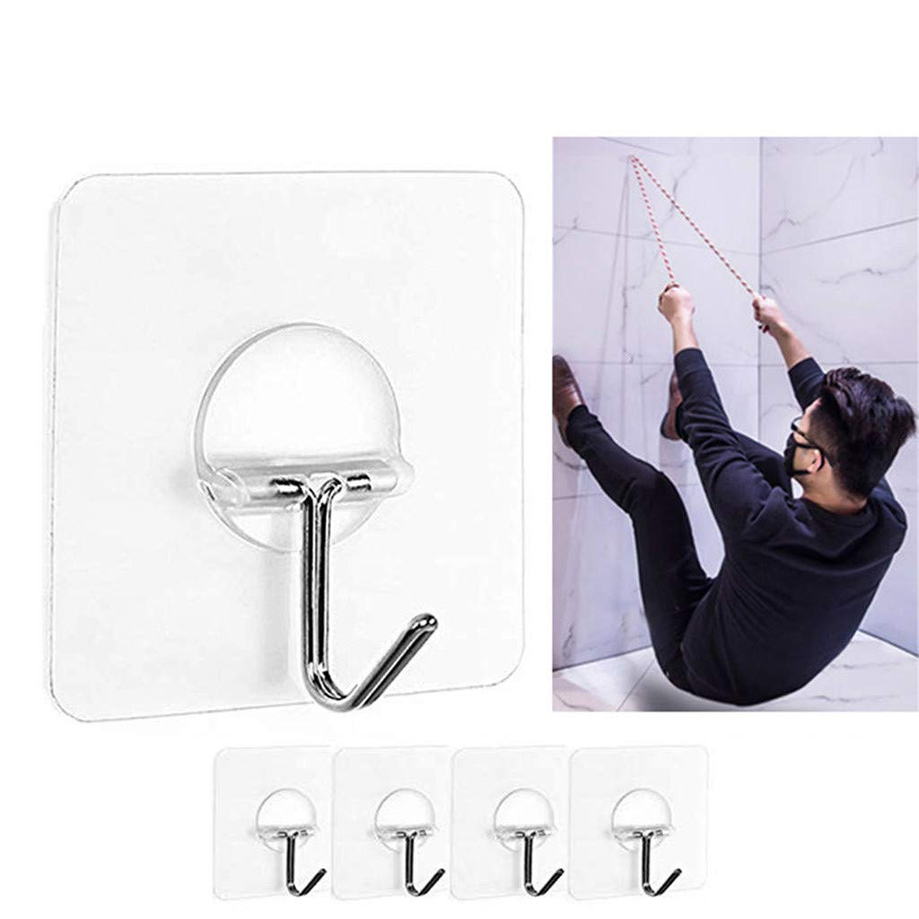 Pet1997 4pcs Non-slip Transparent Seamless Wall Hook Anti-skid Hooks Reusable Traceless Wall Hanging Hooks, Sticky Wall Hangers Self Adhesive Hooks Metal Utility Hanging Hooks Storage (White)
