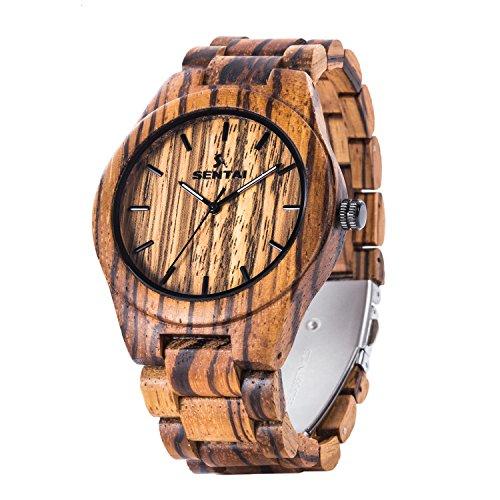 Men's Zebra Wooden Watch, Sentai Handmade Vintage Quartz Watches, Natural Wood Wrist (Male Zebra)