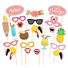 SODIAL(R) 21pcs Flamingo Photo Booth Props Tropical Hawaiian Summer Party Accessories Hope Family