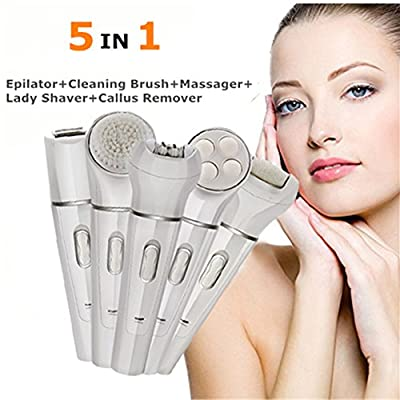 5 in 1 Depilatory Machine Bikini Trimmer Epilator For Woman Callus Remover Lady Shaver Facial Massager,Wet&Dry Electric Hair Removal Epilator