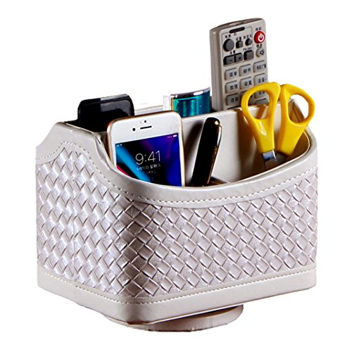 (CHIDRA PU Leather 360 Degrees Rotatable Media Storage Container/Organizer for Remote Control Phone Pen Eyeglasses,Makeup Stationery Holder/Caddy(White Woven))
